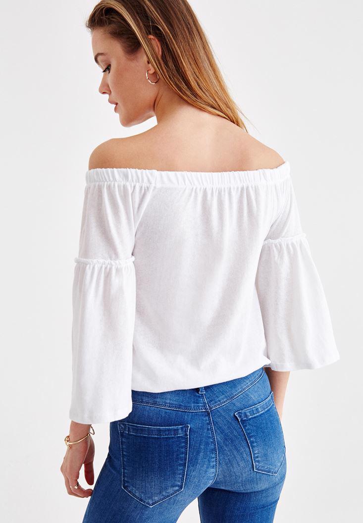 Bayan Beyaz Lastikli Düşük Omuz Bluz