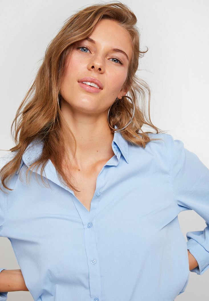 Blue Long Sleeve Shirt With Cotton