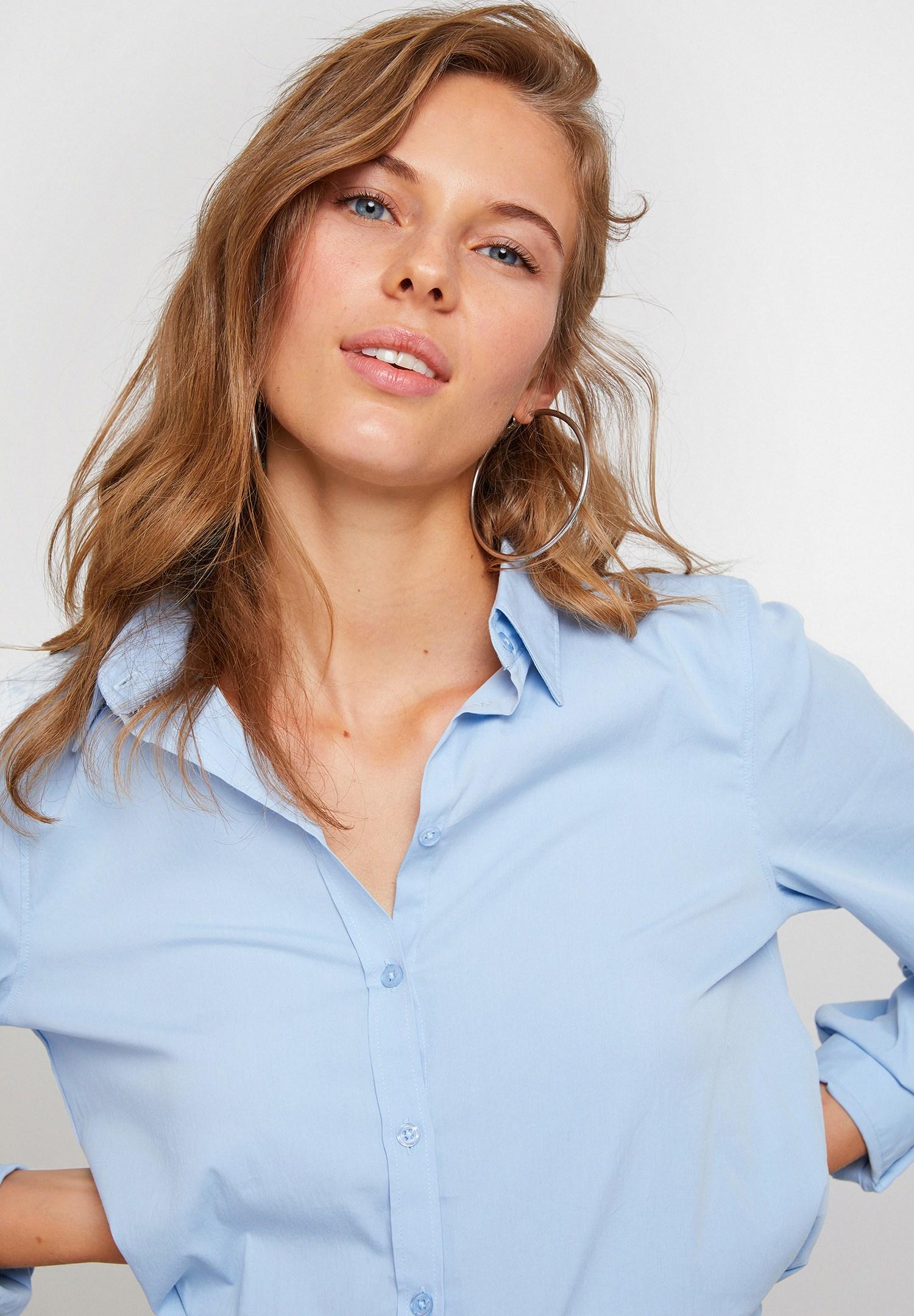 Women Blue Long Sleeve Shirt With Cotton