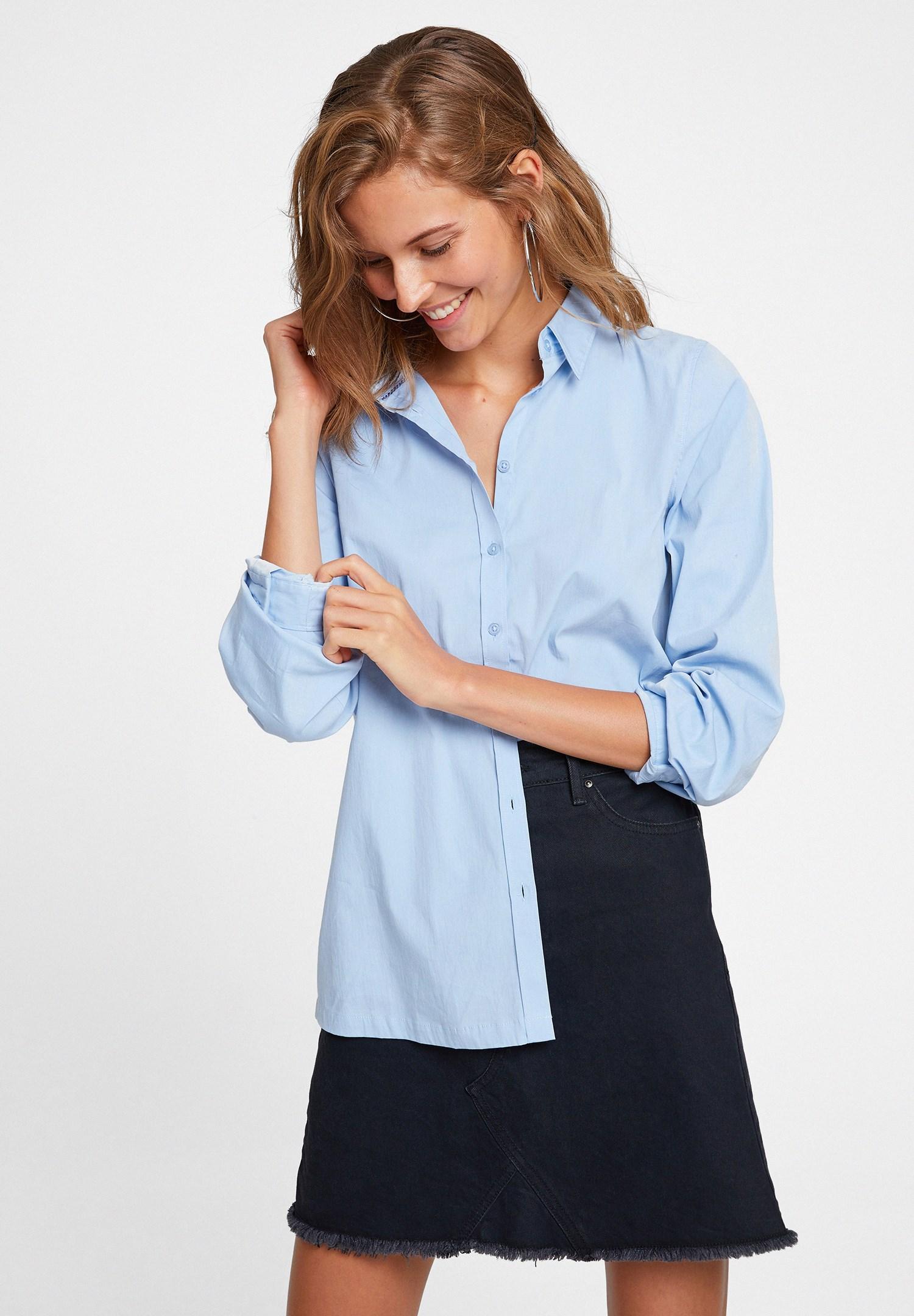 Bayan Mavi Uzun Kollu Pamuklu Gömlek