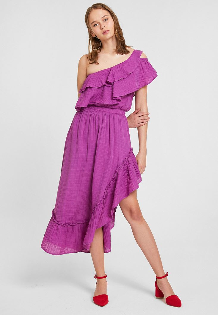 Purple Asymmetric Dress with Ruffle Details