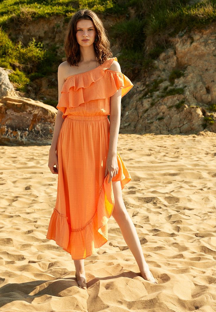 Orange Asymmetric Dress with Ruffle Details