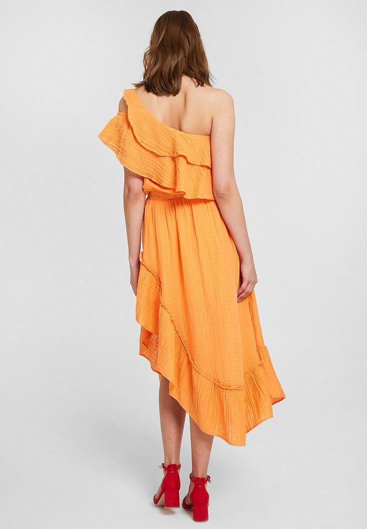 Bayan Turuncu Tek Omuz Fırfır Detaylı Elbise