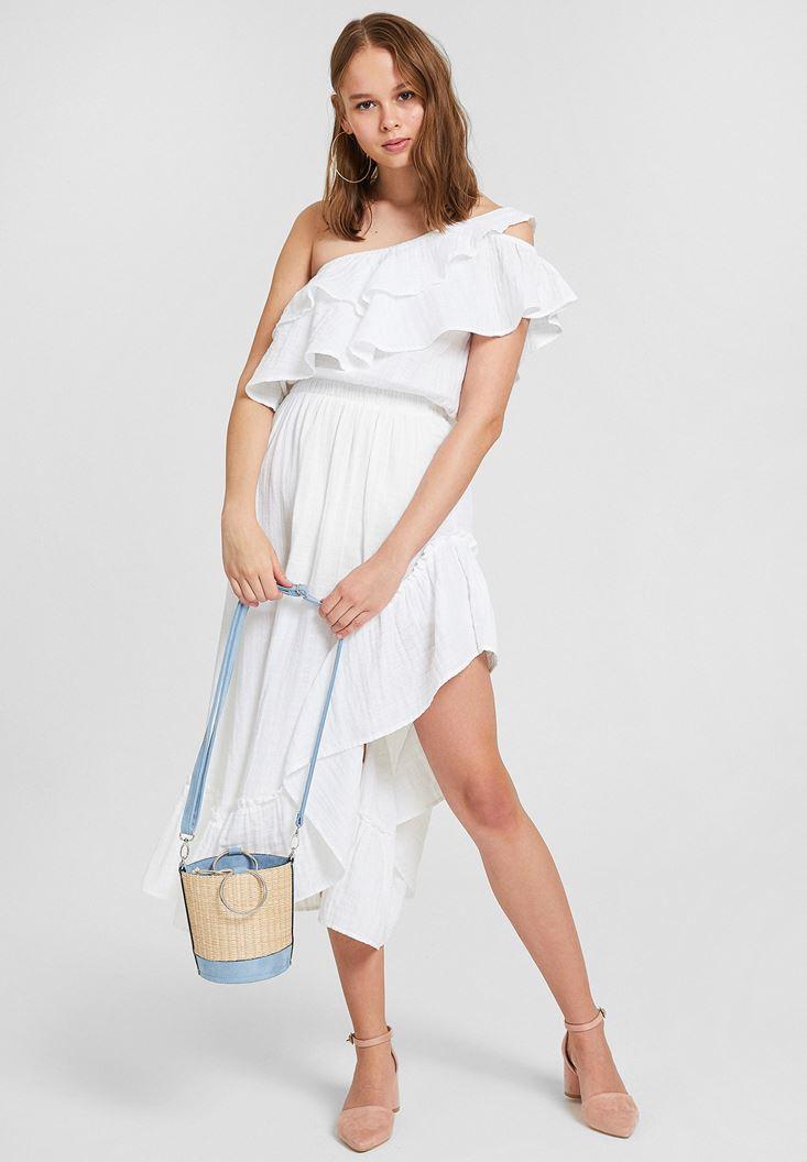 Beyaz Tek Omuz Fırfır Detaylı Elbise