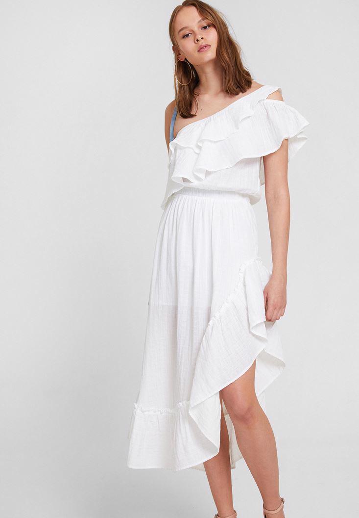 Bayan Beyaz Tek Omuz Fırfır Detaylı Elbise