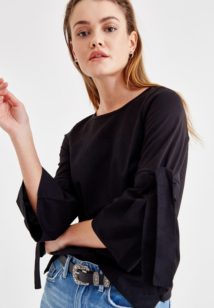 Black Blouse with Binding Details