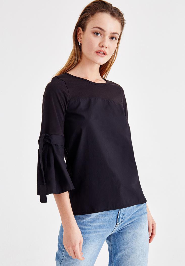 Women Black Blouse with Binding Details