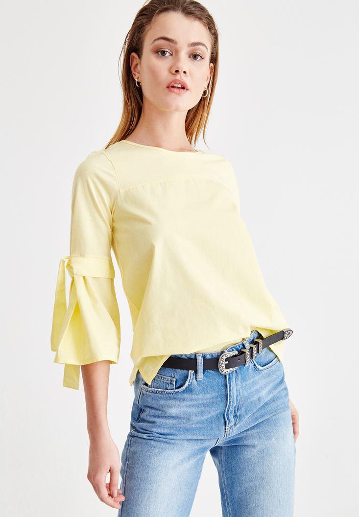 Sarı Kolları Bağlama Detaylı Bluz