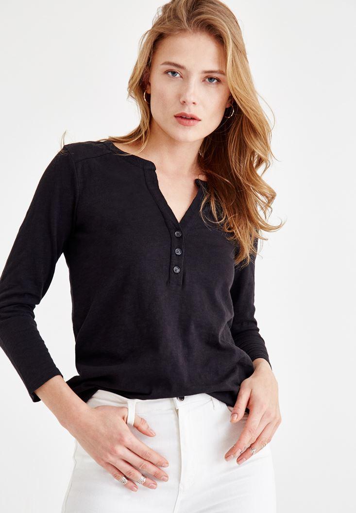 Siyah Önü Düğme Detaylı Pamuk Gömlek
