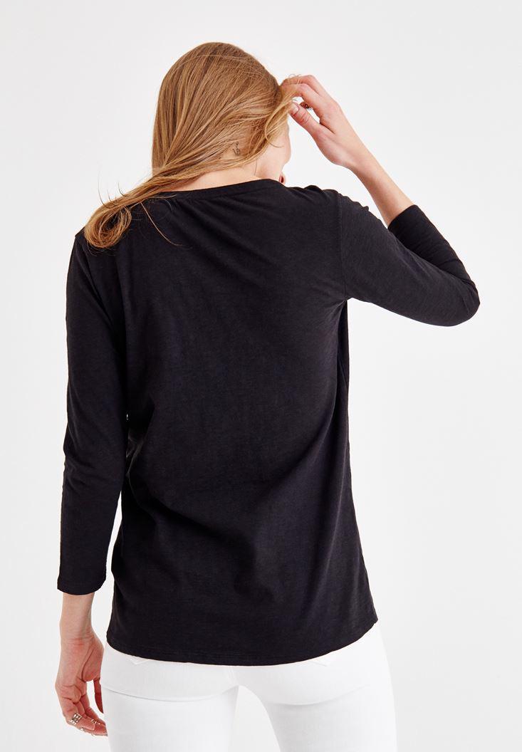 Bayan Siyah Önü Düğme Detaylı Pamuk Gömlek