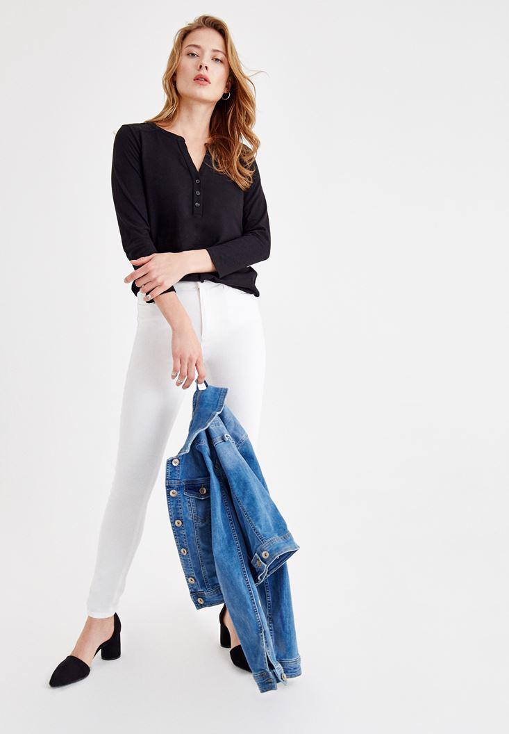 Women Black Cotton Shirt with Button Details