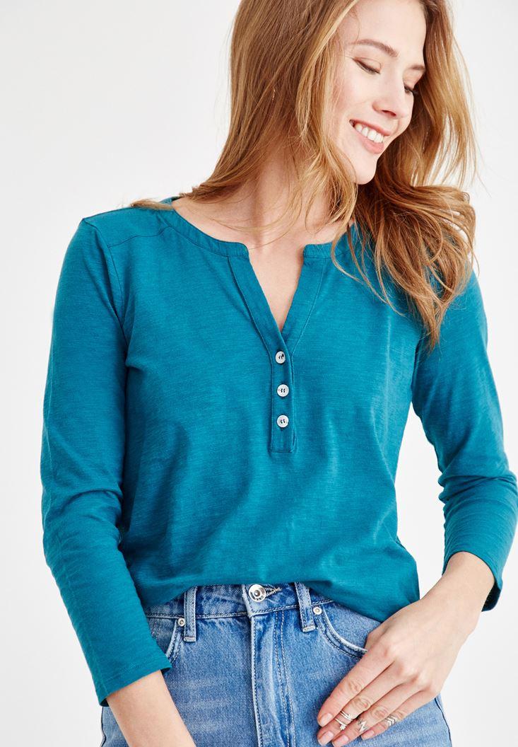 Mavi Önü Düğme Detaylı Pamuk Gömlek