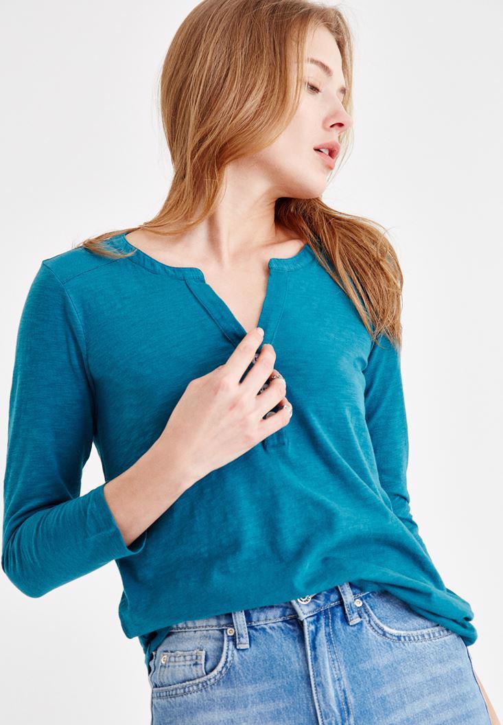 Bayan Mavi Önü Düğme Detaylı Pamuk Gömlek