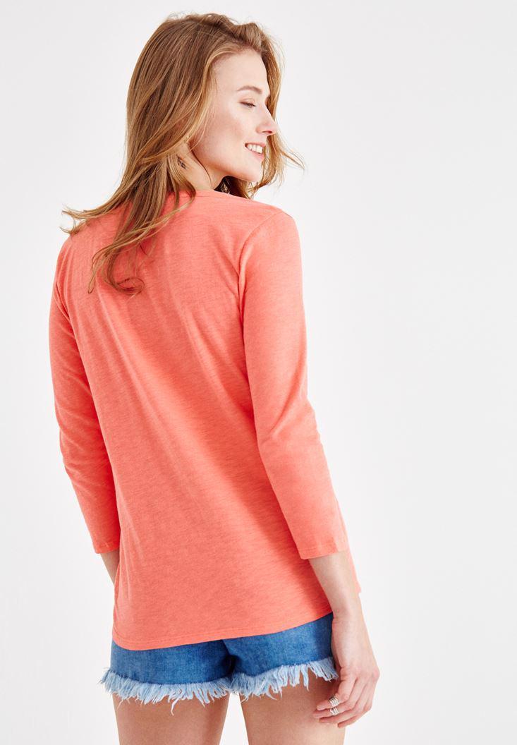 Bayan Kırmızı Önü Düğme Detaylı Pamuk Gömlek