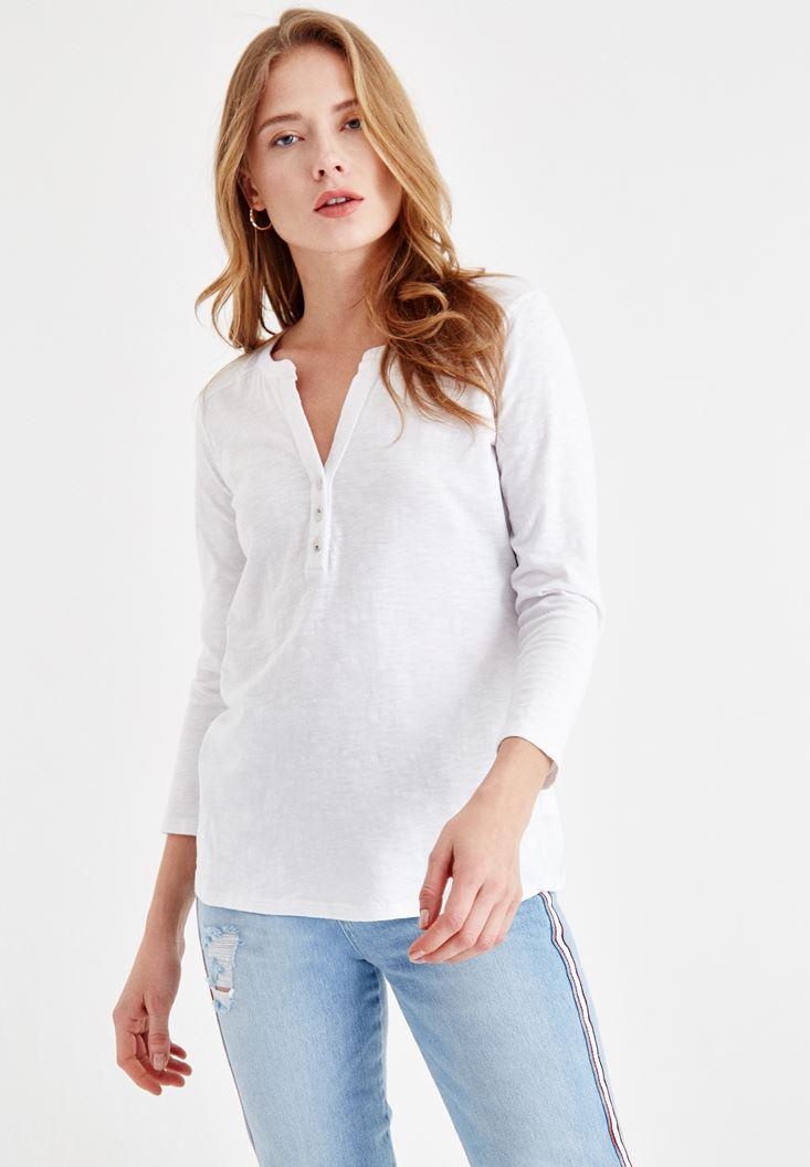 White Cotton Shirt with Button Details