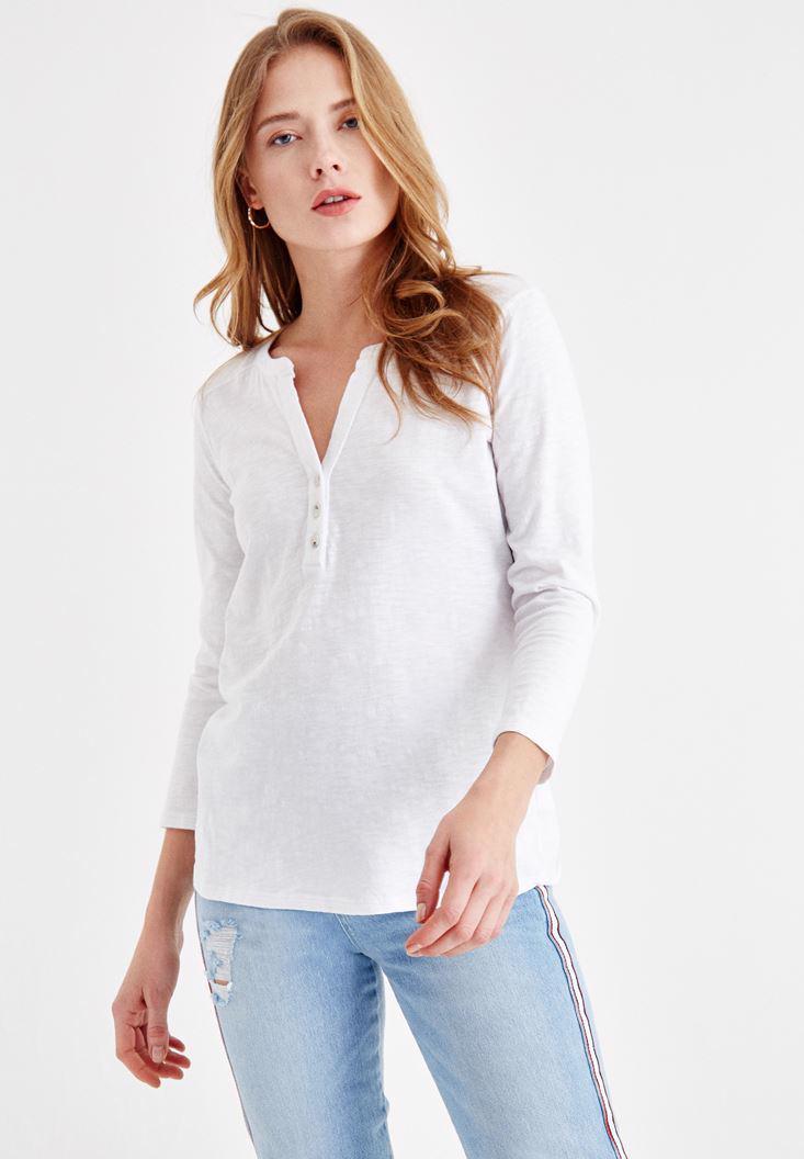 Women White Cotton Shirt with Button Details