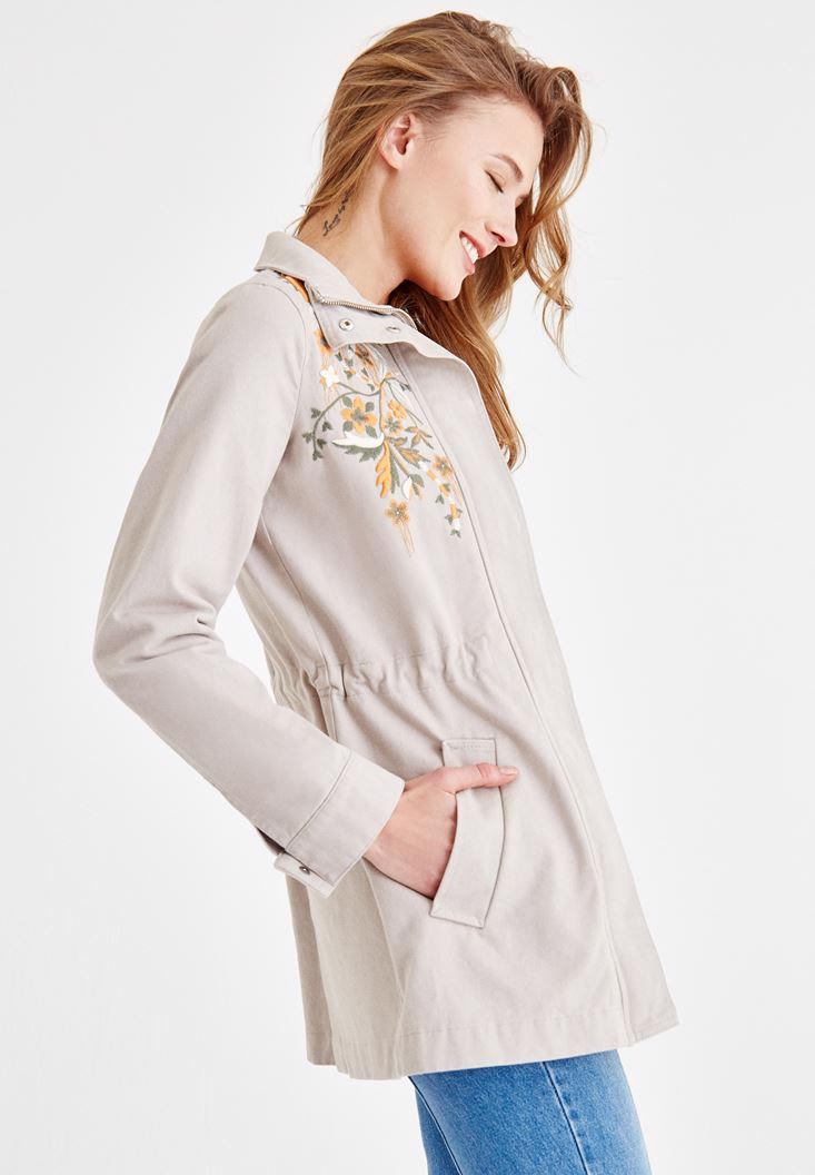 Women Grey Jacket With Embroidery and Pocket Detailed