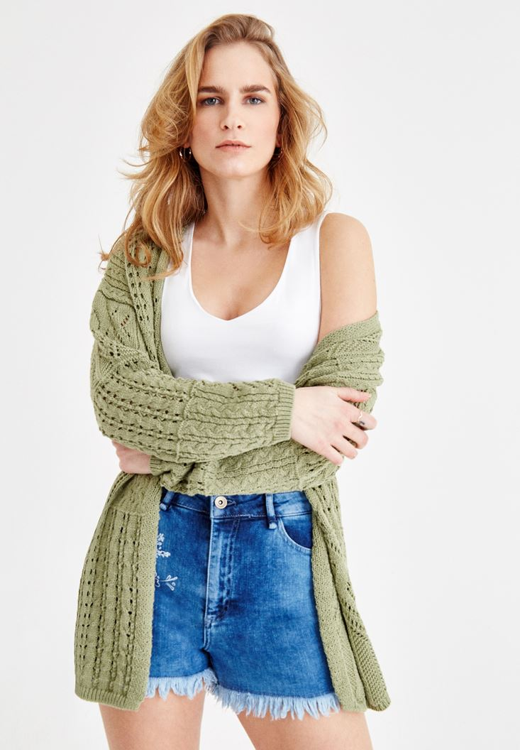 Green Knitted Cotton Cardigan