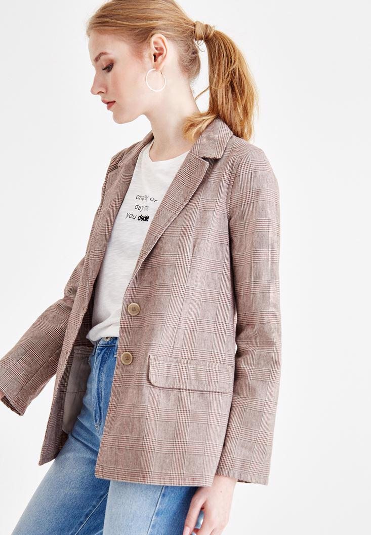 Bayan Kahverengi Ekose Desenli Pamuk Ceket