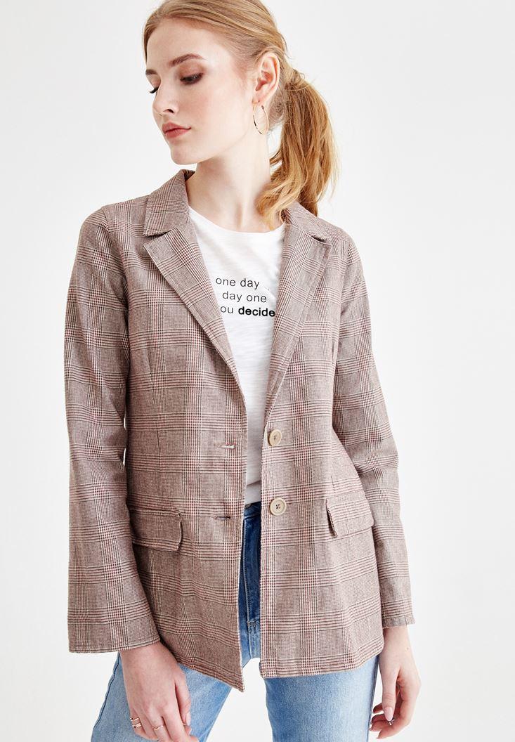 Bayan Gri Ekose Desenli Pamuk Ceket