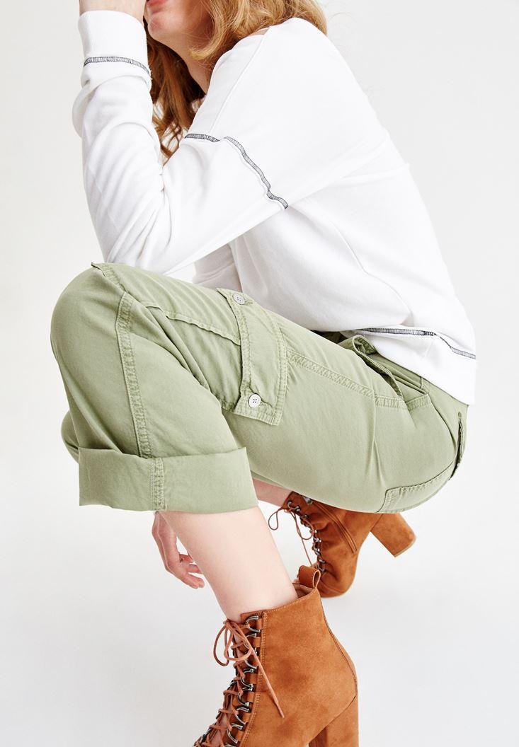 Yeşil Beli Kemerli Kargo Pantolon