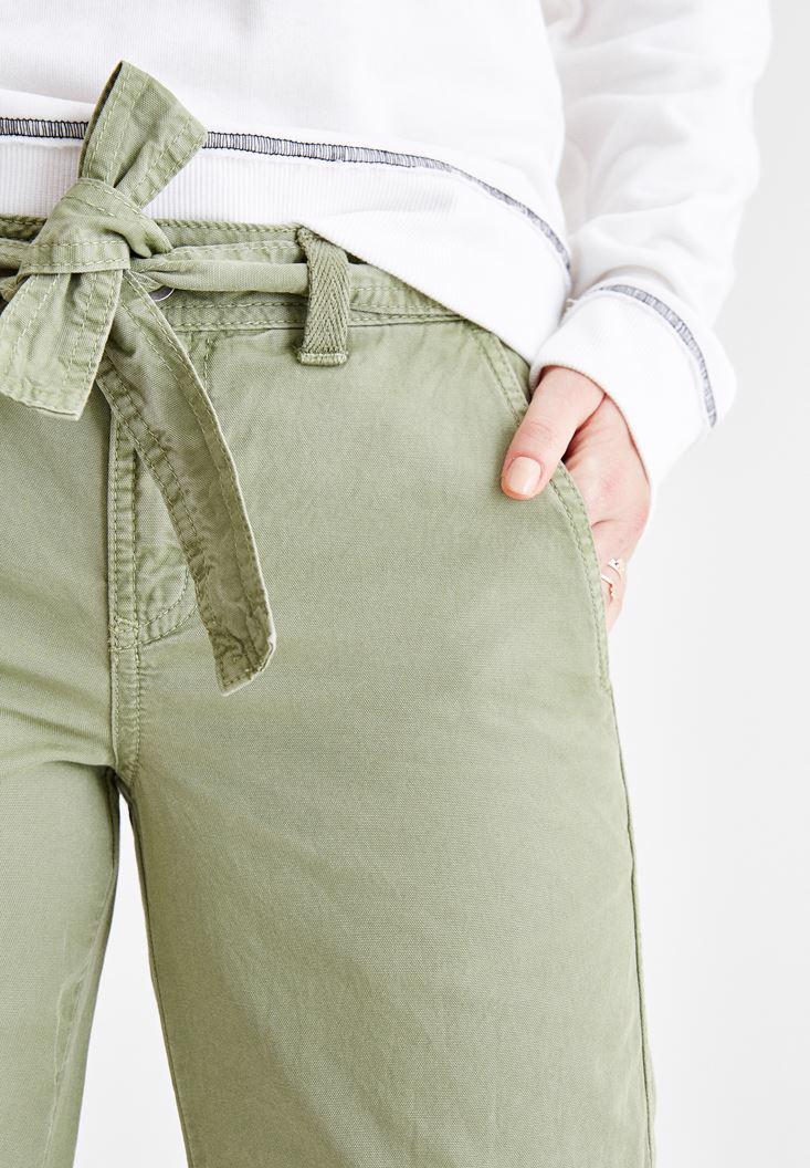 Women Green Cargo Pants with Details