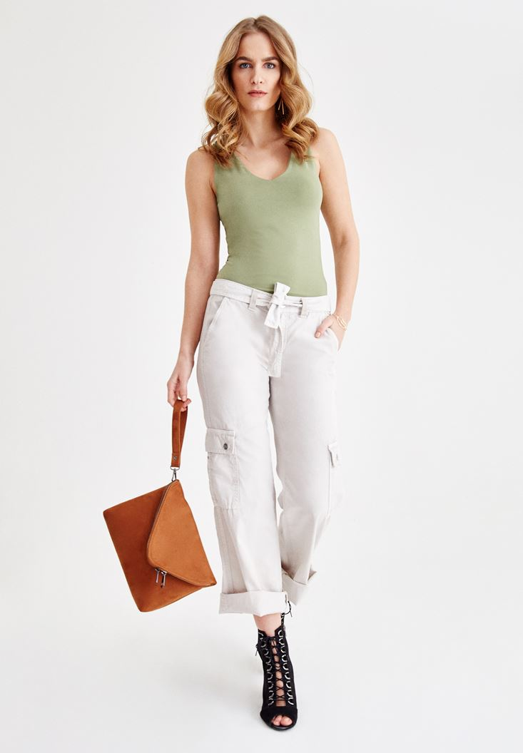 Grey Cargo Pants with Details