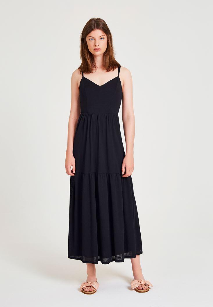 Black Dress with V Neck Details