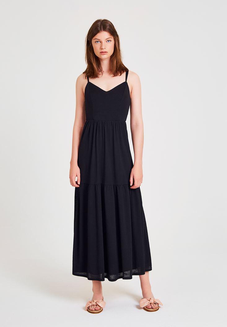 299fa33af3a8b Siyah V Yaka Uzun Elbise Online Alışveriş 18YOX-POLASBISE | OXXO