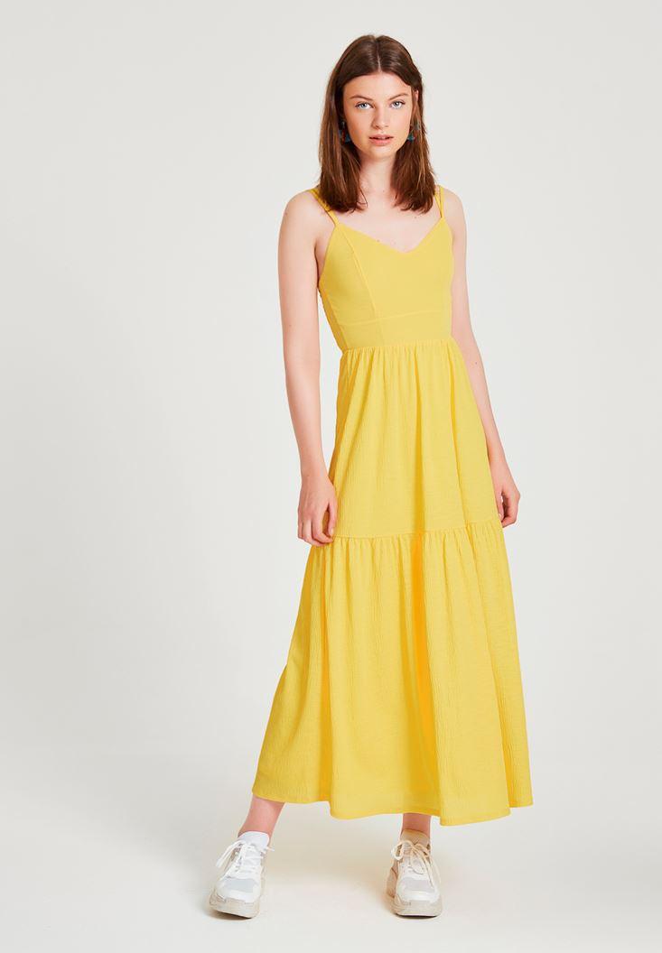 Sarı V Yaka Uzun Elbise