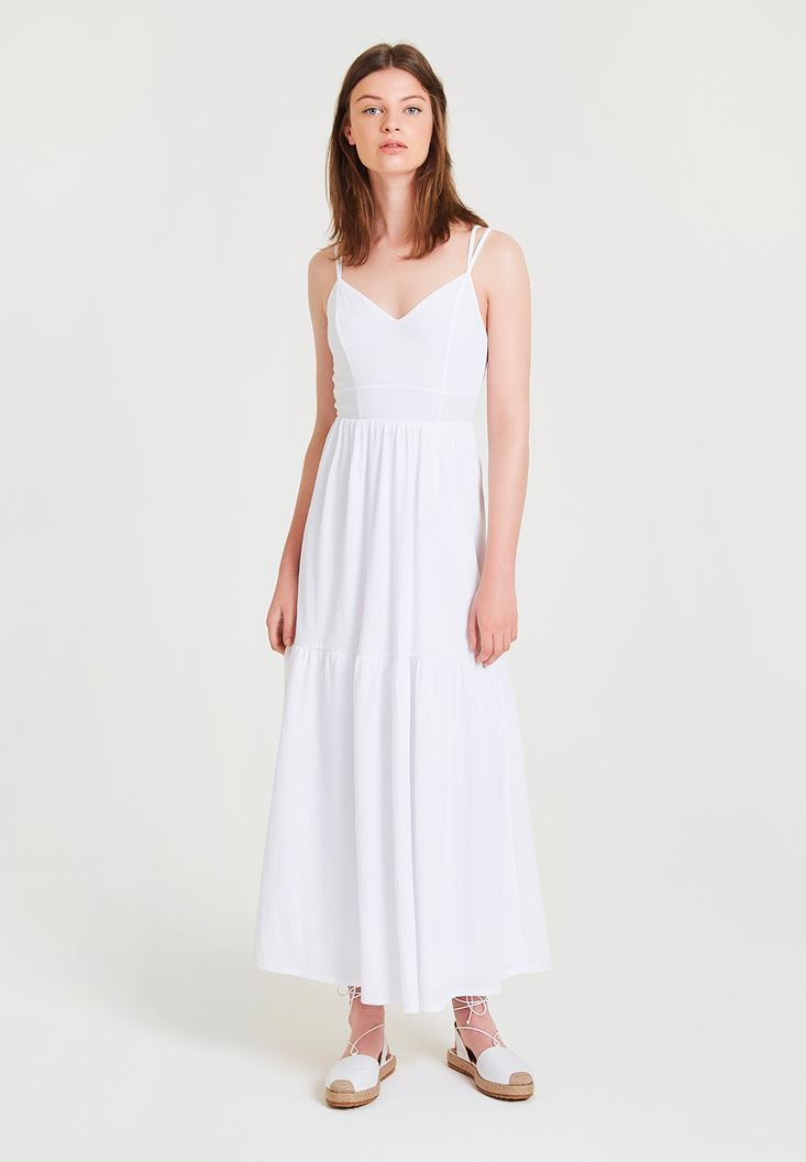 Beyaz V Yaka Uzun Elbise