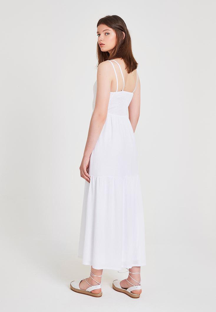 Bayan Beyaz V Yaka Uzun Elbise