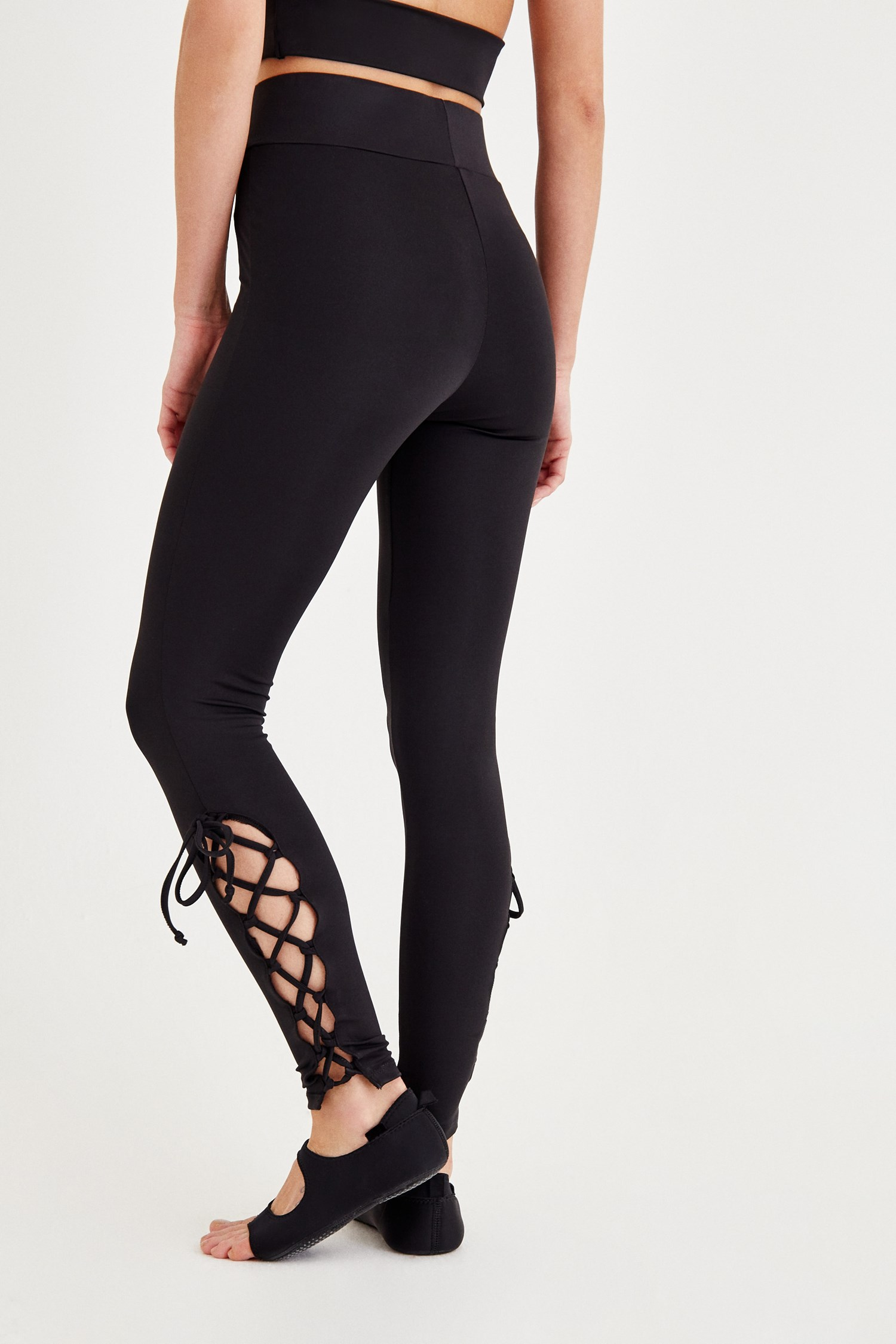 Women Black Sport Tights with Binding Details
