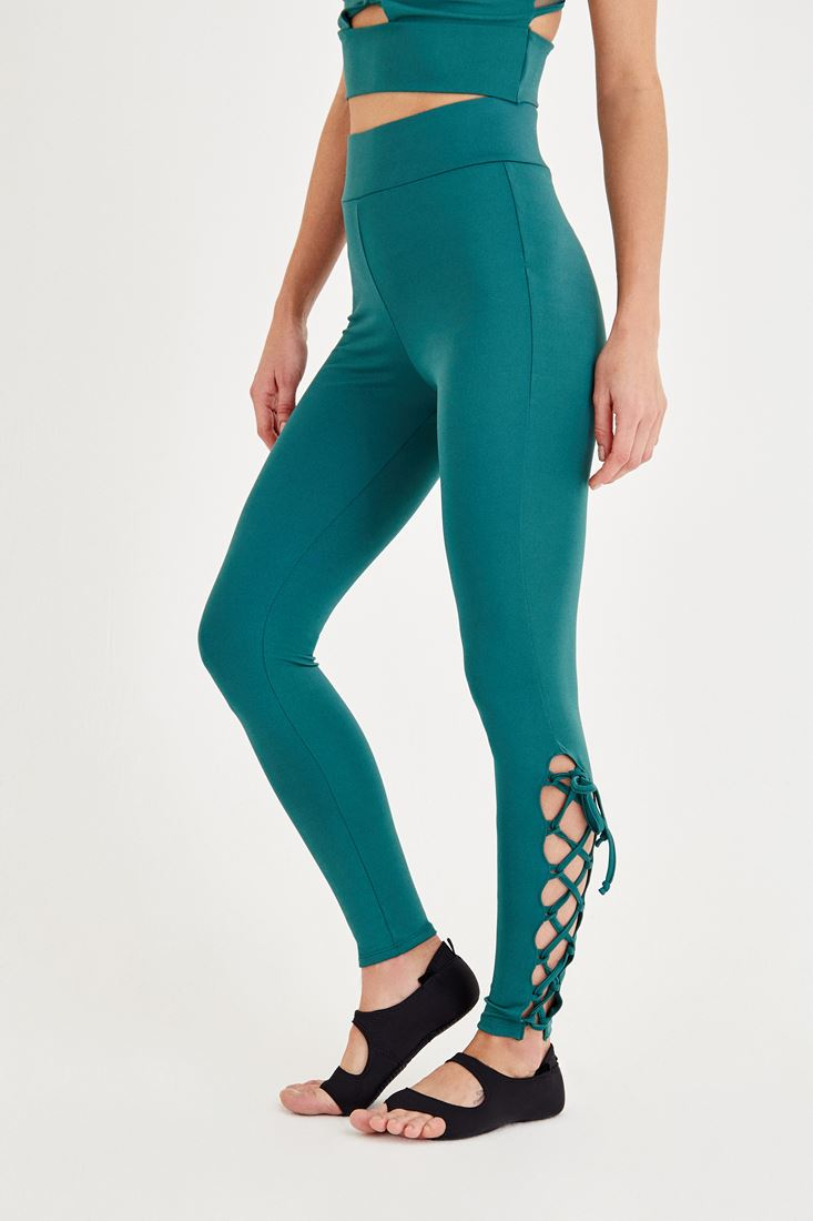 Green Sport Tights with Binding Details