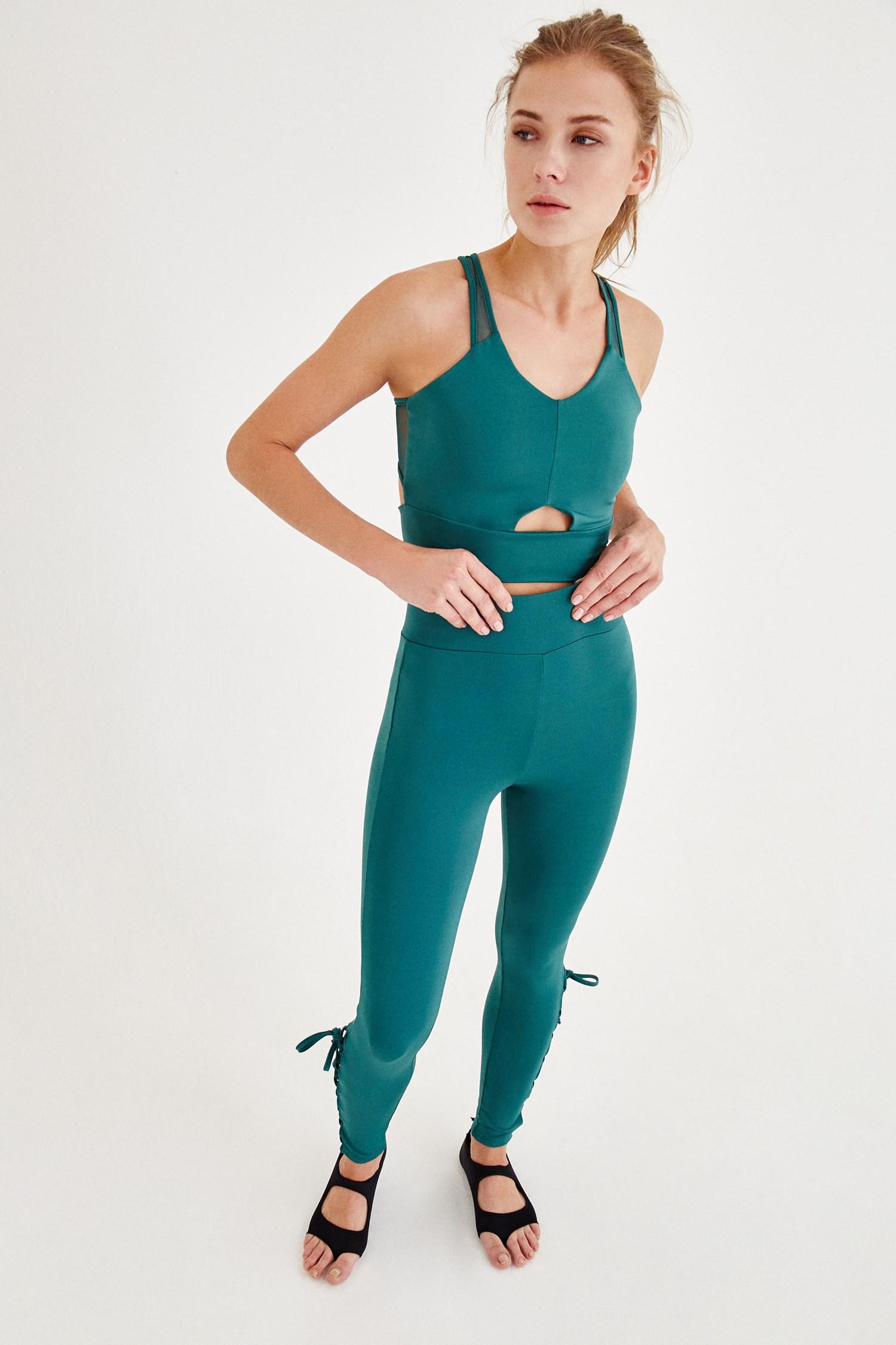 Bayan Yeşil Biye Detaylı Spor Tayt
