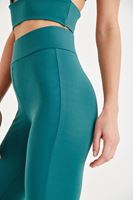 Women Green Sport Tights with Binding Details