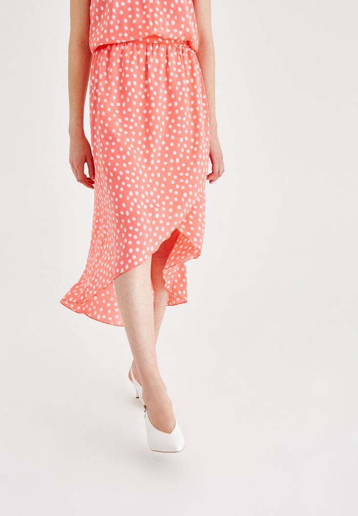 Mixed Skirt with Spot Pattern