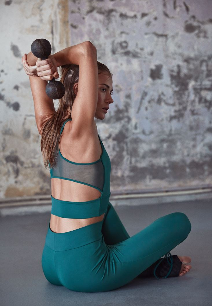 Green Sport Bra with Back Details