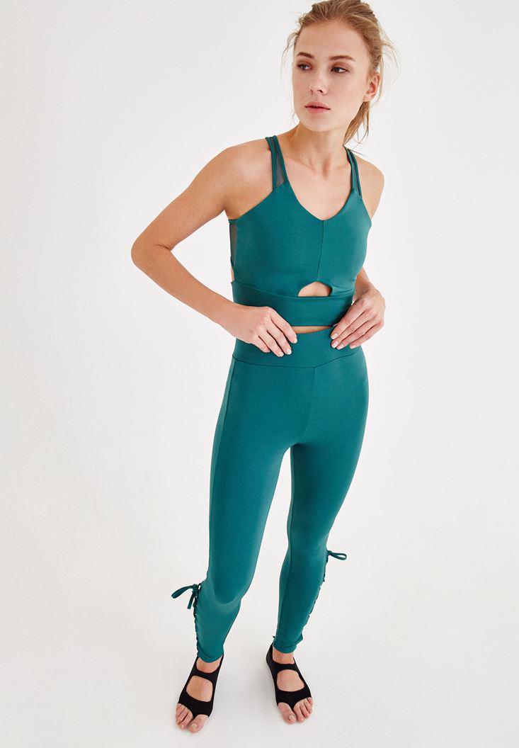 Bayan Yeşil Sırt Detaylı Spor Büstiyer