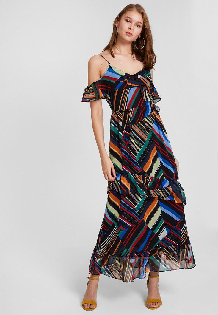 Çok Renkli Karışık Desenli Askılı Elbise