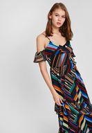Bayan Çok Renkli Karışık Desenli Askılı Elbise
