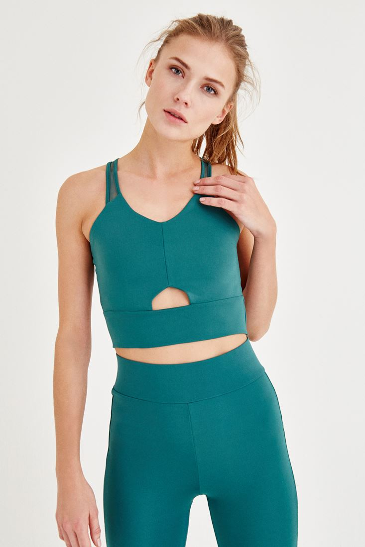 Green Sport Bra with Back Detailed
