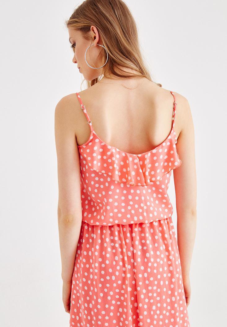 Bayan Çok Renkli Puantiye Desenli Askılı Bluz