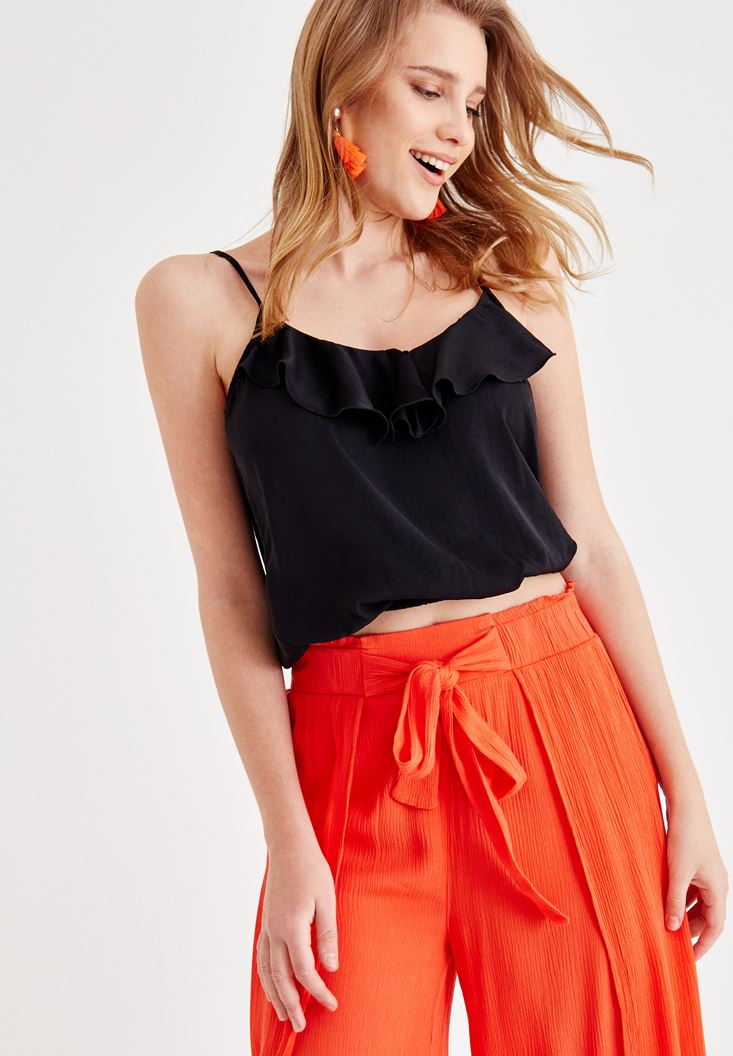 Black Blouse with Ruffle Detail