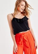 Women Black Blouse with Ruffle Detail