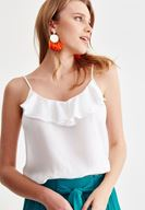 Women White Blouse with Ruffle Detail