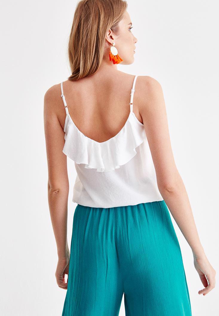 Women White Blouse with Ruffle Detail