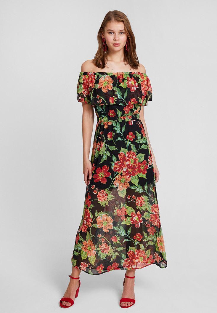 Çok Renkli Karışık Desenli Düşük Omuzlu Elbise