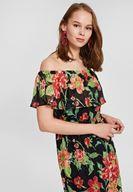 Bayan Çok Renkli Karışık Desenli Düşük Omuzlu Elbise
