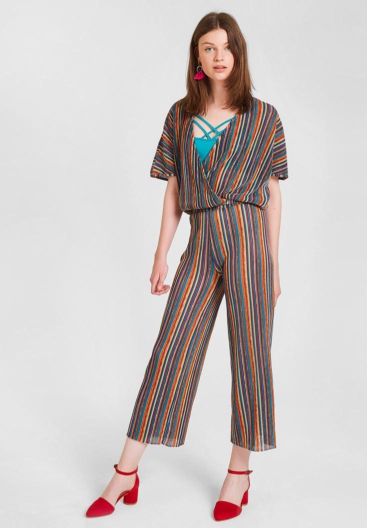 Çok Renkli Çizgi Desenli Bol Pantolon